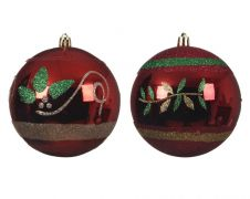 Deco Shatterproof Baubles - 10cm Christmas Red