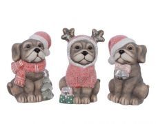 Deco Terrac Dog With Xmas Hat - Natural