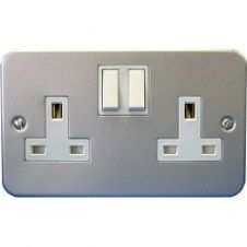Dencon 13A, 2 Gang Switch Socket Metal Clad - Pre-Packed