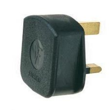 Dencon 13A, 3 Pin Rubber Plug Black to BS1363/A - Bubble Packed