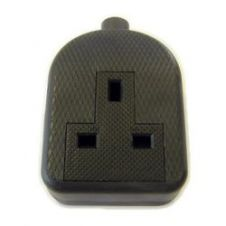 Dencon 13A, Rubber Trailing Socket Black to BS1363/A - Bubble Packed