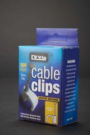 Dencon White Round Cable Clips Box 100 - 8mm
