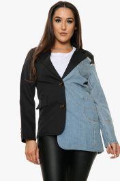 Denim Panel Blazer Jacket (Black)