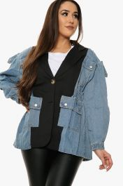 Denim Panel Utility Jacket (Black)