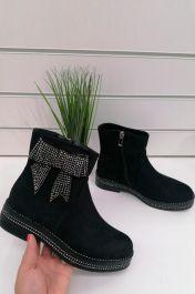Diamante Bow Ankle Boots Black