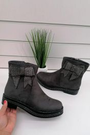 Diamante Bow Ankle Boots Grey