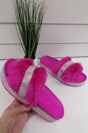 Diamante Faux Fur Slider Fuchsia Pink