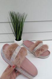 Diamante Faux Fur Slider Pink