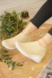 Diamante Knitted Sock Wedge Trainers Beige