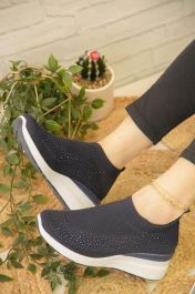 Diamante Knitted Sock Wedge Trainers Black