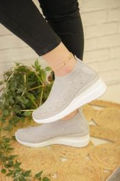 Diamante Knitted Sock Wedge Trainers Grey