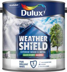 Dulux Weathershield Exterior Quick Dry Gloss 2.5L - Pure Brilliant White
