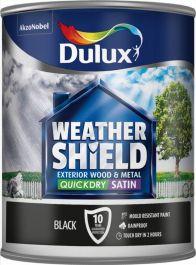 Dulux Weathershield Quick Dry Satin 750ml - Black
