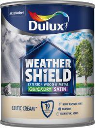 Dulux Weathershield Quick Dry Satin 750ml - Celtic Cream