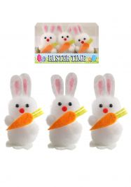 Easter Bunnies White W/carrot 6 Cm
