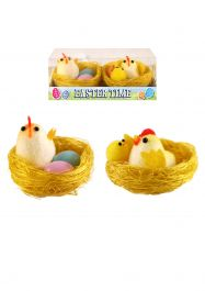 Easter Chick Family On Nest 5.5 Cm 2 Assorted Colour