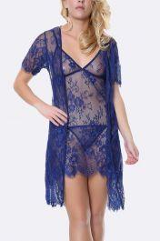 Eyelash Scallop Lace Short Slip With Open Gown 3 Piece Set Lingerie