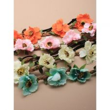Fabric wild rose stretch bandeaux garland