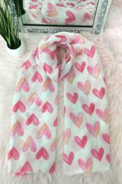 FADED HEART PRINT SCARVES