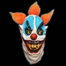 Fat Faced Evil Clown Mask Orange Hair