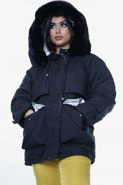 Faux Fur Lined Hooded Front Zip Jacket (Black)
