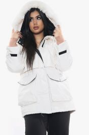 Faux Fur Lined Hooded Front Zip Jacket (White)