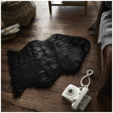 FAUX FUR SHEEP RUG 60X90 BLACK 6437