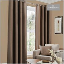 FAUX SILK (EYELET) CURTAINS 66x54 CHOCOLATE @