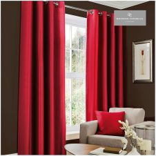 FAUX SILK (EYELET) CURTAINS 66x54 DEEP RED@