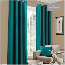 FAUX SILK (EYELET) CURTAINS 66x54 TEAL@