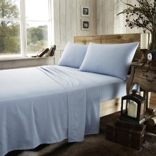 FLANNEL PLAIN SHEET SET BLUE