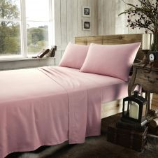FLANNEL PLAIN SHEET SET PINK