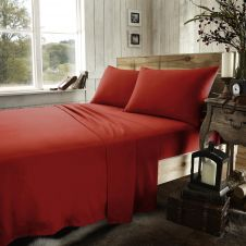 FLANNEL PLAIN SHEET SET RED