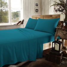 FLANNEL PLAIN SHEET SET TEAL