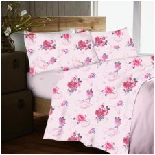 FLANNEL SHEET SET NANCY PINK