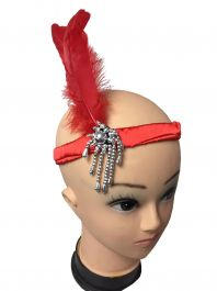 Flapper Head Band Red Feathers