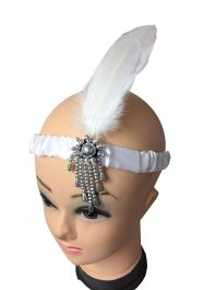 Flapper Head Band White Feathers