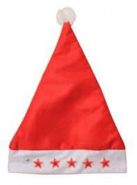 Flashing Red Stars Santa Hat