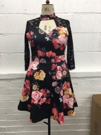 Floral dress with lace sleeves
