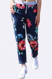 Floral Print Pocket Drawstring Trouser