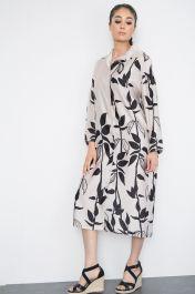 Floral Print Satin Shirt Dress Beige