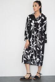 Floral Print Satin Shirt Dress Black