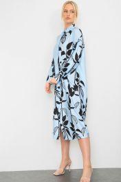 Floral Print Satin Shirt Dress Blue