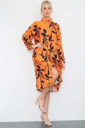 Floral Print Satin Shirt Dress Orange