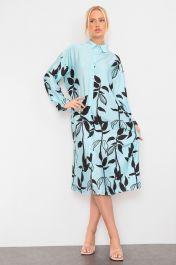 Floral Print Satin Shirt Dress Turquoise