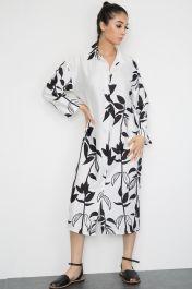 Floral Print Satin Shirt Dress White