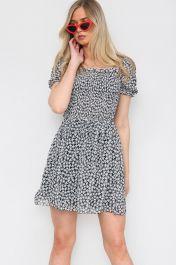 Floral Ruched Mini Dress Black