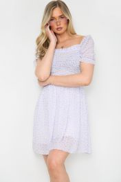 Floral Ruched Mini Dress Lilac