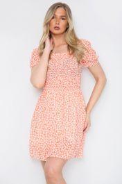 Floral Ruched Mini Dress Orange