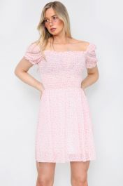 Floral Ruched Mini Dress Pink